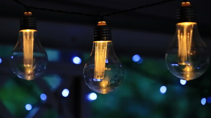 Fototapeta lampki solarne ogrodowe, żarówki, solar garden lamps  obraz