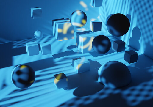 Abstract geometry. Background is blue. Abstract background with balls in zero gravity. Simple geometric background. Texture is blue with geometric shapes. Pattern is modern. 3d visualization