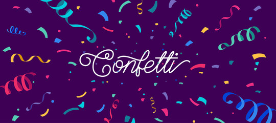 Fototapeta Confetti vector banner background with colorful serpentine ribbons, place for yours text at the center. Anniversary, celebration, greeting illustration in flat simple cartoon style with fun explosion obraz