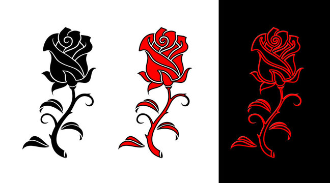 Rose Bud vector illustration flower outline art tattoo design 장미 라인아트 문신도안 건대타투 05