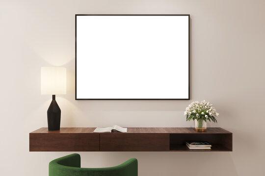 Mockup para cuadro horizontal sobre repisa de madera, 3d render