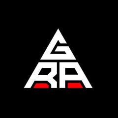 Fototapeta GRA triangle letter logo design with triangle shape. GRA triangle logo design monogram. GRA triangle vector logo template with red color. GRA triangular logo Simple, Elegant, and Luxurious Logo. GRA  obraz