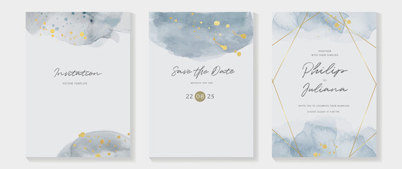 Fototapeta Abstract art background vector. Luxury invitation card background with golden line art and Watercolor brush texture. Vector invite design for wedding and vip cover template.  obraz