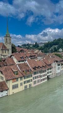 Hochwasser der Aare in Bern, Schweiz, Juli 2021