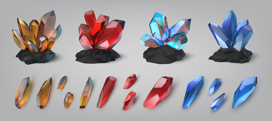 Obraz Gemstones. Shiny and colorful treasure precious stones and crystals. Glowing diamond or amethyst. Jewelry jade and opal. Realistic brilliant jewels. Geology template. Vector gems set - fototapety do salonu