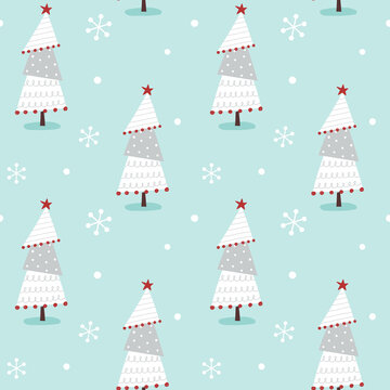 Seamless pattern for winter holidays with hand drawn whimsical trees and snowflakes.