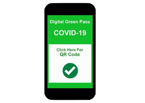 Smartphone with Digital Green Pass, Covid-19, on display for safe traveling
