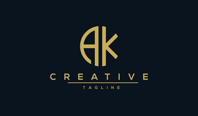 Obraz Alphabet AK KA, initial Letter Monogram Icon, Badge Logo vector illustration - fototapety do salonu
