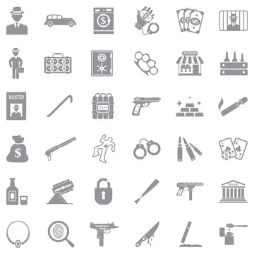Mafia Icons. Gray Flat Design. Vector Illustration.