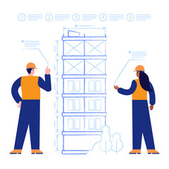 Fototapeta Architects designs house construction drawing of future multi-storey building. Engineers works with blueprints and making measurements. Real estate business. Vector illustration scene with characters obraz