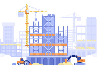 Fototapeta Construction site concept. Builders working on building of multi-storey house or skyscraper. Special machinery excavators dig, cranes load blocks. Vector illustration scene with tiny characters obraz