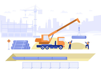 Fototapeta Construction site of building house concept. Team of builders makes pipeline, pipe laying in ground, truck crane loads pipes. Real estate business. Vector illustration scene with tiny characters obraz