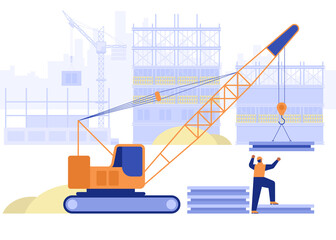 Fototapeta Construction site of building house concept. Crane loads plates, builder works on multi-storey buildings. Real estate business, industrial workers job. Vector illustration scene with people character obraz
