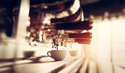 Fototapeta Coffee machine in restaurant obraz