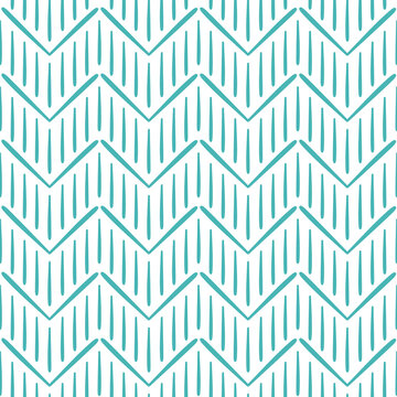 Hand drawn style brush strokes, modern boho chevron print design. Seamless pattern vector. Stripes and zig zag motifs. Wrapping paper, background, fabric design. Teal blue on white.