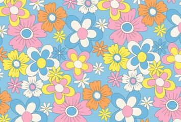 Fototapeta retro seamless pattern with flowers for social media posts, banner, card design, etc. obraz