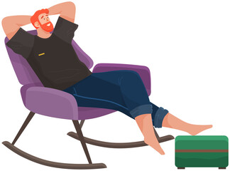 Fototapeta Man lying on sofa in apartment. Happy young guy relaxing, dreaming. Rest on couch and think about something. Home leisure. Male character lies on divan and smiles, enjoying time at home after work obraz