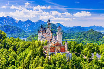 Fototapeta Neuschwanstein Castle, Germany. Front view of the castle with the Bavarian Alps in the background. obraz