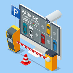 Obraz Isometric parking lot displayed on screen. Car park location. Online searching free parking place on the map. GPS Navigation. Smart parking concept with parking lot with cars vehicle carpark map. - fototapety do salonu