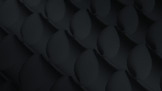 Dark lines of abstract techno fractals background. Futuristic 3D render shape with changing shape. Moving pattern of black pipes with geometric cocoons and curved structures