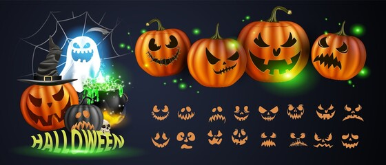 Obraz Vector illustration. Yellow pumpkins for Halloween. Jack-o-lantern facial expressions. Horror persons on dark background - fototapety do salonu