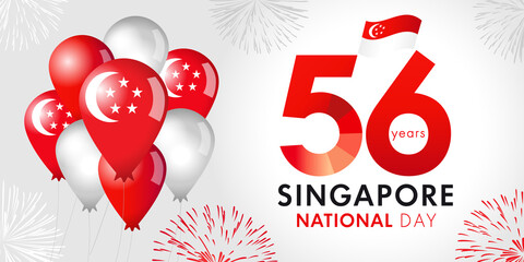 Obraz 56 Years Anniversary of Singapore National Day with balloons and flag. Happy Singapore Independence day August 9, republic celebration vector illustration - fototapety do salonu