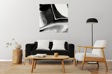 Fototapeta Picture frame on a wall with Scandinavian home interior obraz