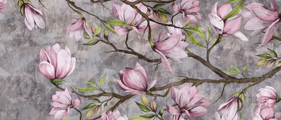 Obraz magnolia branch on a textured background, pastel colors and black accents, photo wallpaper in a room or home interior - fototapety do salonu