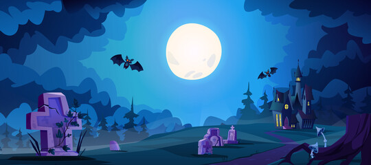 Obraz Halloween landscape with scary dark castle and graves with flying bats. Full moon shining on cemetery, spooky evening in boneyard. Memorial park or crypts graveyard. Cartoon vector illustration - fototapety do salonu
