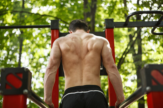 Rear view shot of athletic man exercising on dips bars outdoors