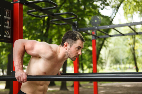 Attractive athletic man doing triceps dips in the forest on calisthenics playground, copy space
