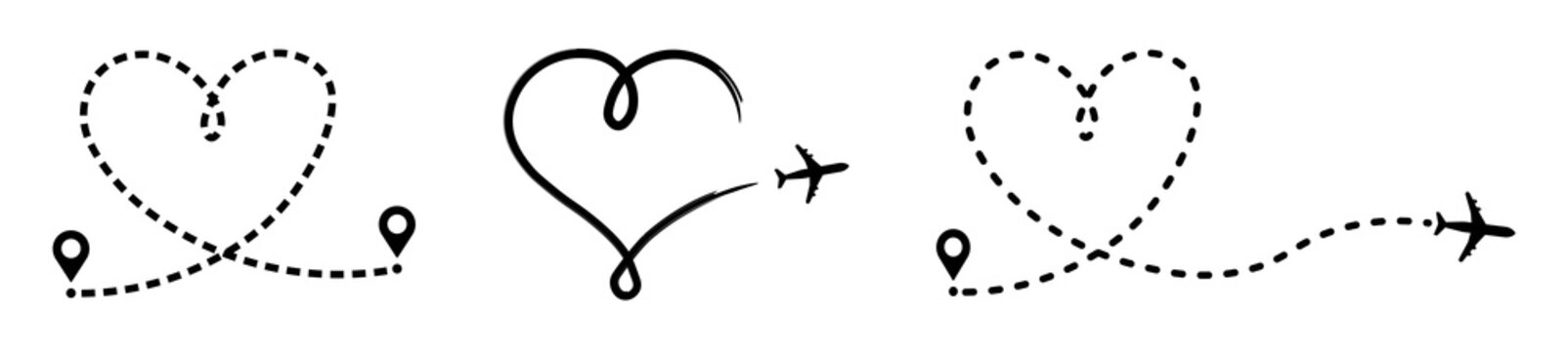 Set of love travel route, airplane line path of air plane flight route with start point and dash line trace vector icon in line style