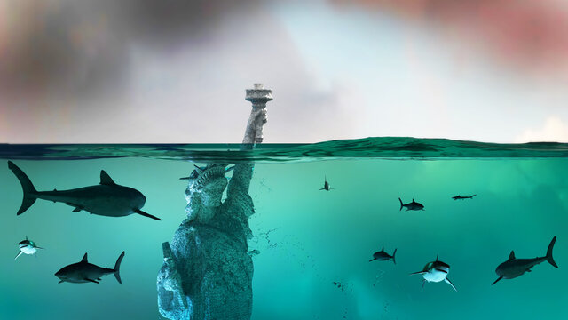 statue of Liberty under water, America flooded New York render 3d
