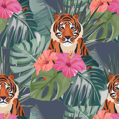 Tropical seamless pattern. Palm tree leaves, flower hibiscus and tiger . Vector illustration. Summer background