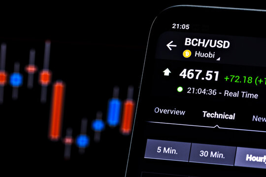 Editorial photo on Bitcoin Cash (BCH) theme.  Illustrative photo for news about Bitcoin Cash (BCH) - a cryptocurrency