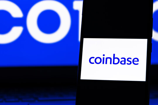 Editorial photo on Coinbase theme.  Illustrative photo for news about Coinbase - a company that operates a cryptocurrency exchange platform