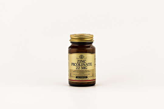 zinc picolinate pills in the jar. dietary supplement editorial photo