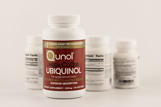 ubiquinol softgels in the jar. dietary supplement editorial photo