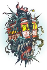 Obraz Cartoon psychedelic old retro red tramway with monster canines, eye, tentacles and big mushrooms on the roof. Isolated vector tattoo on white background. - fototapety do salonu