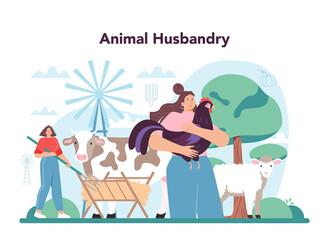 Obraz Farmer concept. Animal husbandry business. Farm worker feeding animals - fototapety do salonu