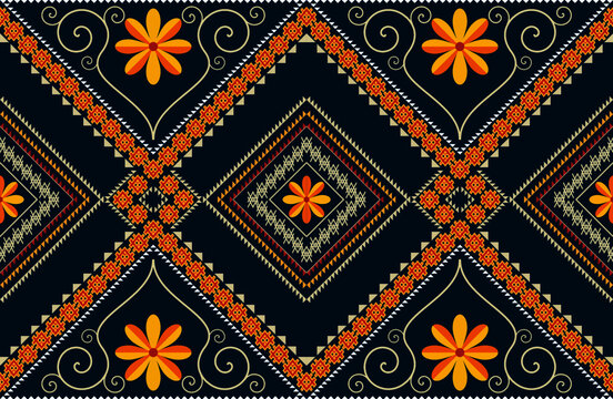 Abstract ethnic oriental floral seamless pattern, illustration design for background or wallpaper.
