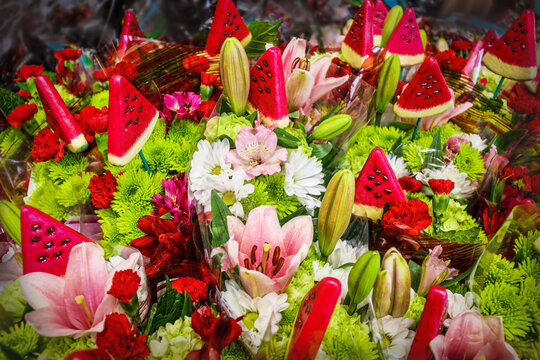 Colorful summer boquets with watermelon wedge spikes - top view