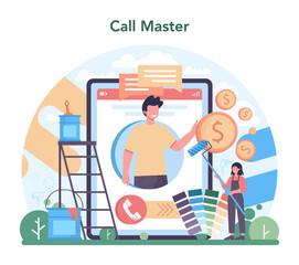 Fototapeta Home master online service or platform. Repairman applying obraz