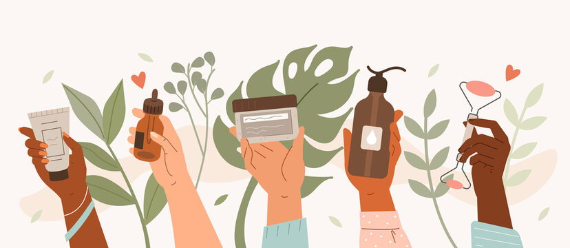 Beauty hands holding different cosmetic product. Diverse girls showing moisture cream, serum, cleanser and massage stone. Daily skin care routine and hygiene concept. Flat line vector illustration.