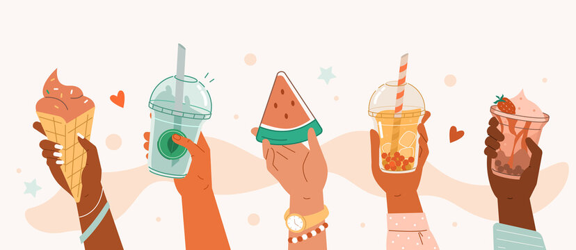 Hand holding different summer sweets and drinks. Bubble tea and smoothie soft drinks, watermelon, ice cream.  Yummy summer food and beverage collection. Flat cartoon vector illustration.