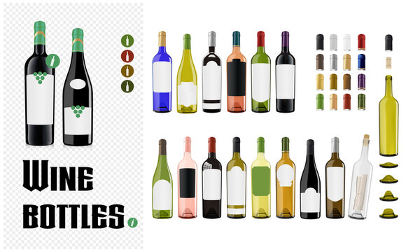 Vector wine bottle design kit with unique label shapes and capsules.
