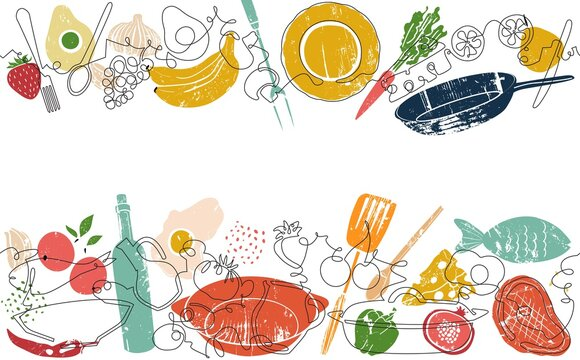 Two top and bottom Seamless Patterns with Food and Utensils. Vector Background. One line art Style. Frame with Organic Food. Can be also yused like Banner, Flyer, Texture.