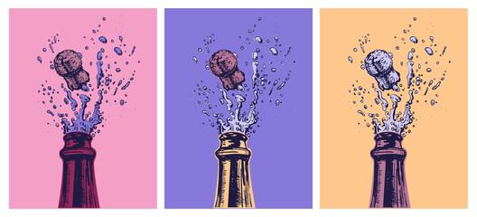 Fototapeta Hand drawn Illustration of Champagne explosion. Hand drawn Illustration of Champagne explosion. Vector Illustration. Pop Art. Modern art obraz