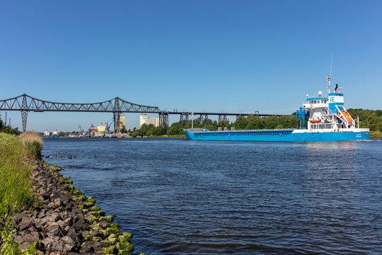 OSTERRÖNFELD, GERMANY - JUNE 14, 2021: general cargo vessel JEANETTE in the Kiel Canal