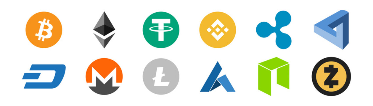 Cryptocurrency logo icon set on white background. Vector illustration. Bitcoin Ethereum Ripple logotype. Crypto currency symbol collection.